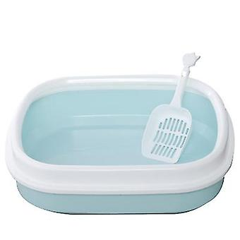 Cat Litter Box Semi-enclosed Cat Toilet Litter Box With cat litter shovel (Azul)