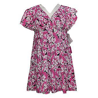 Fit 4 U Swimsuit Flutter Sleeve Printed Swim Dress Pink A394051