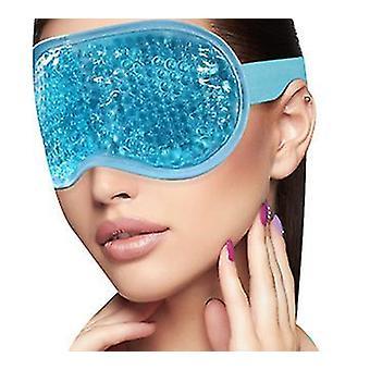 Ice Eye Mask Kolde øjenmaske frosset med plys opbakning til hovedpine, migræne, stress relief (blå)