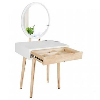 Dressing Table With Drawer, Stool And Dimmable Mirror Led Light