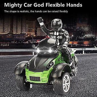 høy simulering RC motorsykkel fjernkontroll motorsykkel drift bil blits ledet lys rotasjon leketøy (grønn)