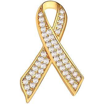 (Valkoinen Cz-kulta) Vaaleanpunainen nauha neula rintakoru naisille lahja, vaaleanpunainen / valkoinen kuutio zirkonia, rintasyöpään