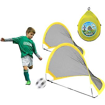 Football Goal Post Pop Up Mini Portable Soccer Training Net For The Garden Kids With 2pcs Net,balls,pump,pegs And Foldable Carry Bag