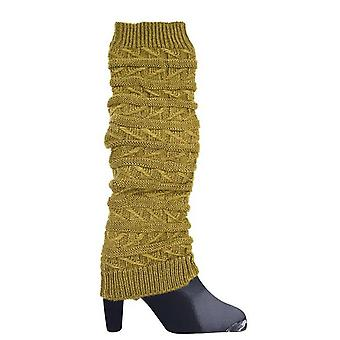 Brown leg warmers with patterns