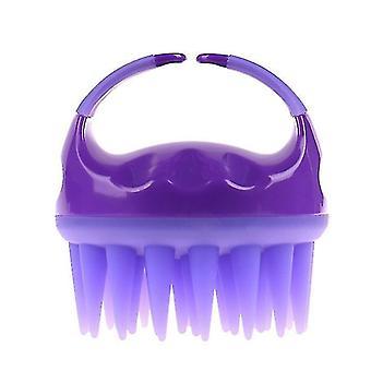 Brosse de shampooing en silicone, brosse de nettoyage de massage du cuir chevelu, peigne de massage en silicone pour cheveux plus longs (violet)