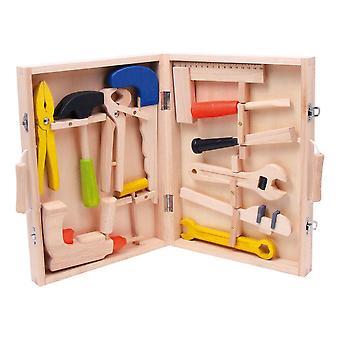Small Foot Kinderspielzeug-Toolbox, 13-teiliger Holz-Werkzeugsatz