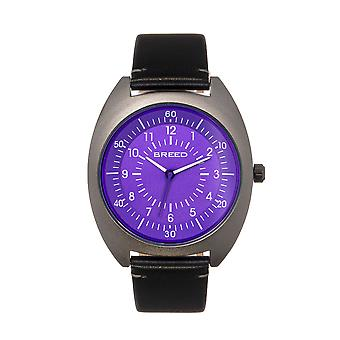 Breed Victor Leather-Band Watch - Purple/Black
