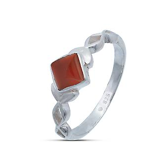 Ring Silver 925 Sterling Silver Carnelian Orange Red Stone (Nr: IRM 178)