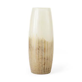 """14"""" kermainen valkoinen ja kultainen ombre raidallinen lasi maljakko"""