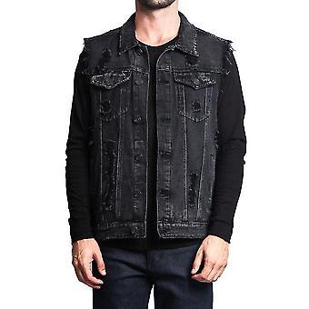 Homemiyn Men's Fit Retro Ripped Denim Vest Sleeveless Jean Vest And Jacket(L)(Black)