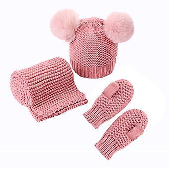 Baby Hut Schal Handschuhe Set Kleinkind Winter Strickmütze Nackenwärmer Fäustlinge Für 0-3y Jungen Mädchen