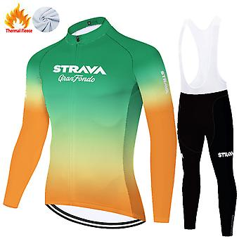 Strava Men's Long Sleeve Cycling Trousers Autumn Winter Thermal Fleece Cycling Clothing Set /green