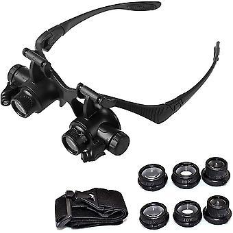 Head Mounted Illuminated Magnifier 10x 15x 20x 25x Magnifier Led Light