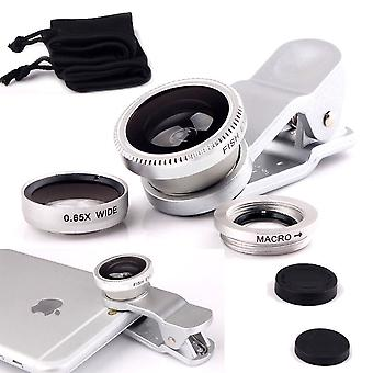 (Silver) Mobile Phone Universal Camera Lens 3 in 1 Kit Wide Angle Lens + Fisheye Lens + Macro Lens with Clip-on 180 Degree For alcatel A3 XL
