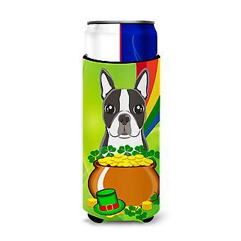 ボストン テリアの聖パトリックの日 Michelob 超飲料絶縁体スリム缶用