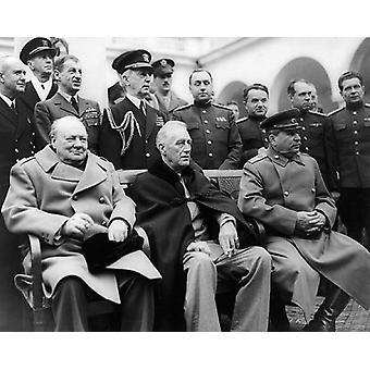 الرئيس فرانكلين د. روزفلت ونستون تشرشل وجوزيف ستالين يالطا مؤتمر عام 1945 طباعة ملصق بأرشيف صور مكمان (10 × 8)