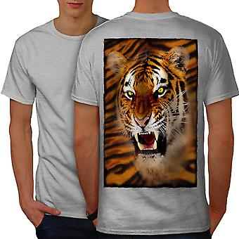 Tiger Beast Angry Animal Men GreyT-shirt Back | Wellcoda