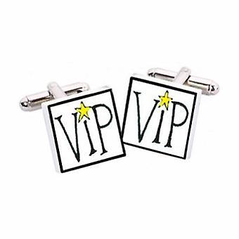 Botões de punho de VIP por Sonia Spencer, na apresentação de caixa de presente. Pintados à mão