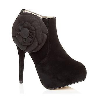 Ajvani womens högklackade plattform zip blomma ankel halvkängor sko stövlar
