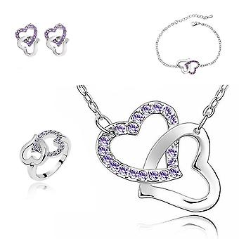 Purple Crystal Stones Hearts Intertwined Jewellery Set With Matching Necklace Earrings Bracelet and Ring