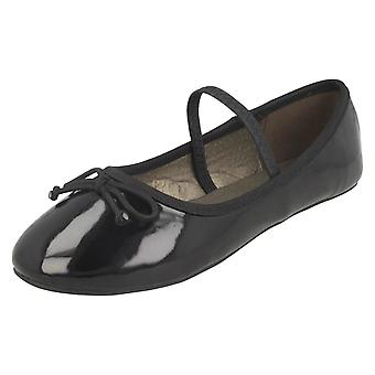 Girls Spot On Elastic Bar Ballerinas H2489 - Black Synthetic Patent - UK Size 11 - EU Size 29 - US Size 12