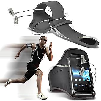 """For LG Zone 4 (5"""") - Running Jogging Sports Gym Armband Mobile Holder Case Cover with Aluminium Earphone (Grey) by i-Tronixs"""