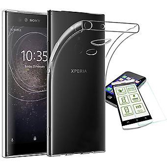 Silikoncase ultra tynn konvolutt bag gjennomsiktig + herdet glass 0.3 mm H9 for Sony Xperia XA2 ultra