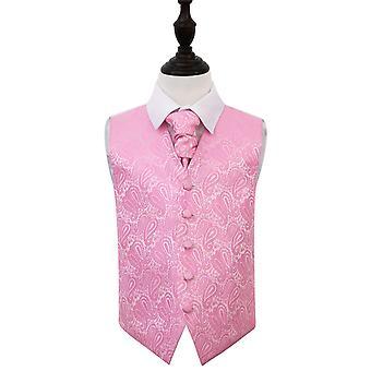 Baby vaaleanpunainen Paisley häät liivi & Cravat Set pojille