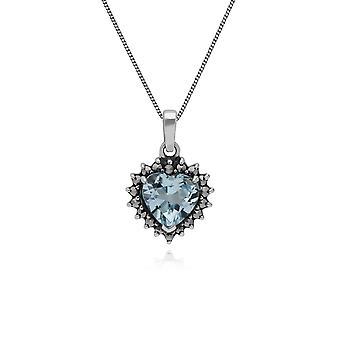 Gemondo стерлингового серебра синий топаз & марказит сердце кулон с цепочкой 45 см