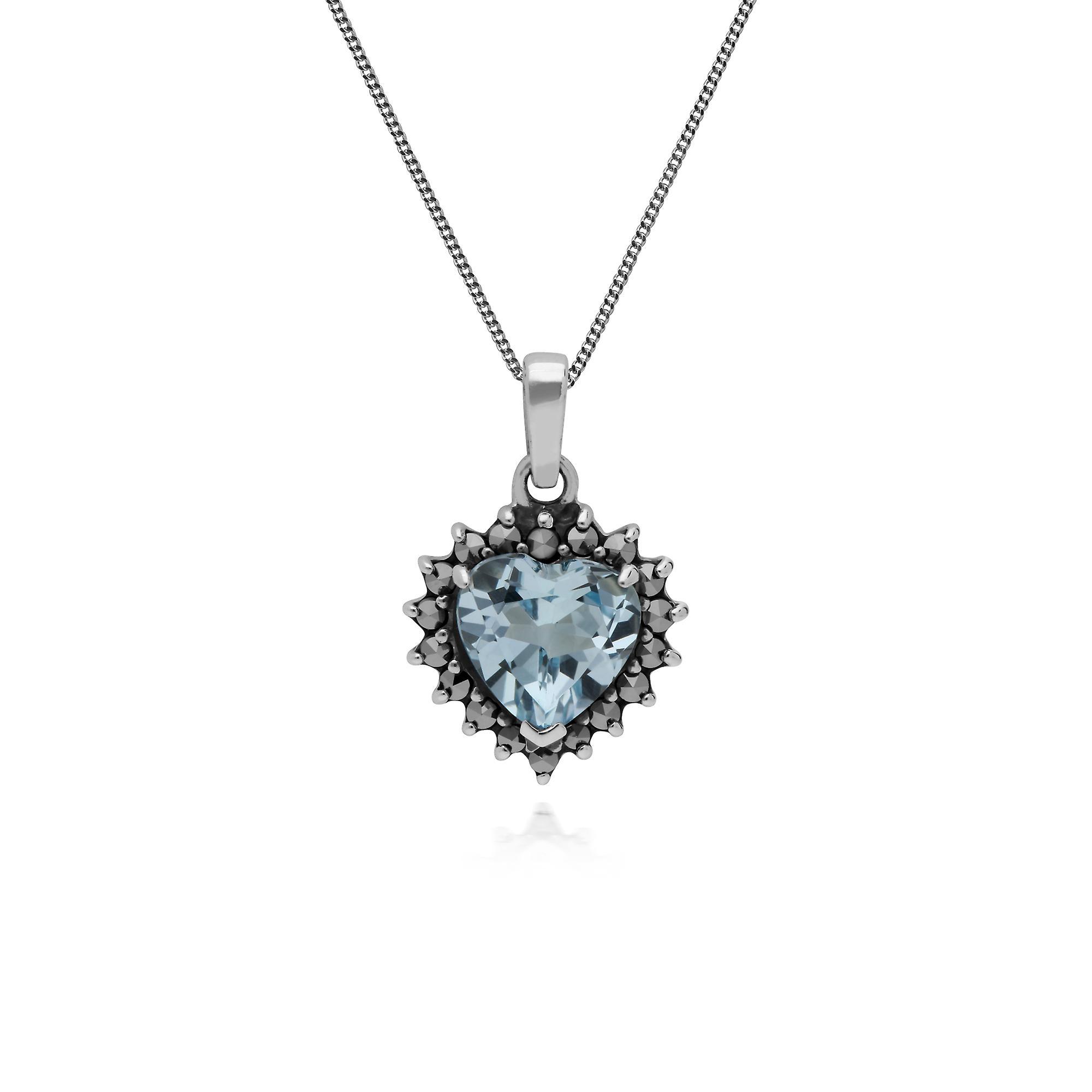 Gemondo Sterling Silver Blue Topaz & Marcasite Heart Pendant with 45cm Chain