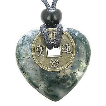 Antikke heldig mynt lykke krefter Amulet grønn mose agat 30mm hjerte Donut anheng halskjede