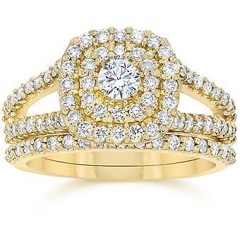 1 1 / 10CT pute Halo Diamond Wedding forlovelsesring sett 10K gult gull