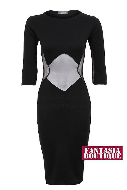 New Ladies 3/4 Sleeves Ribbed Net Mesh Women's Bodycon Dress