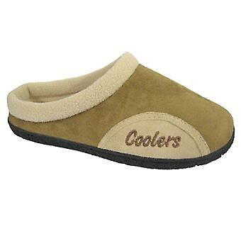 Coolers Mens Microsuede Coral Fleece Lined Mule Slippers
