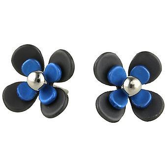 Ti2 Titanium Black Back Four Petal Flower Stud Earrings - Navy Blue