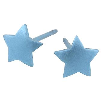 Ti2 Titanium Geometric Star Stud Earrings - Sky Blue