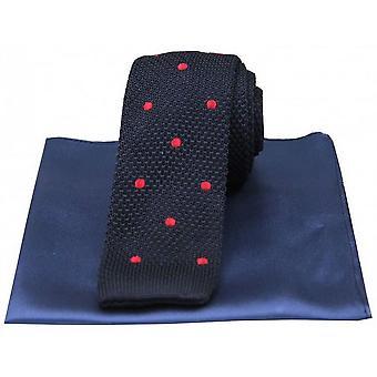David Van Hagen oppdaget tynn strikket silke slips og vanlig lommetørkle Set - Navy/rød