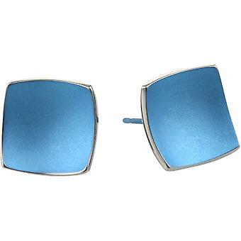 Ti2 Titanium Square gewölbt Ohrstecker - Aqua Blau