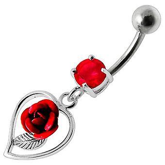 Barra della pancia ombelico Piercing argento 925, gioielli per il corpo, cuore e rosa rossa