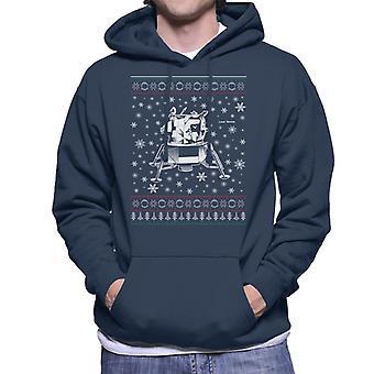 NASA Apollo Lunar Module Christmas Knit Pattern Men's Hooded Sweatshirt