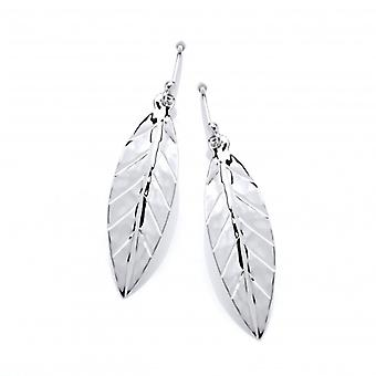 Cavendish French Sterling Silver Hammered Leaf Earrings