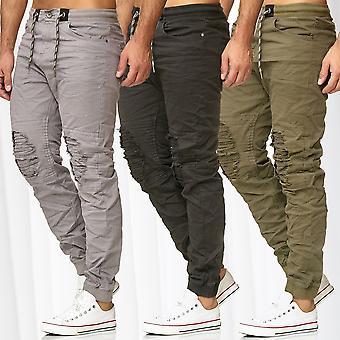 Men's Jogger Pants Chino Biker Sweat Pants Destroyed Stretch Waistband Trousers