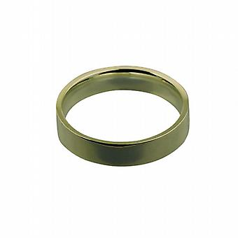 9ct Gold 5mm plain flat Court shaped Wedding Ring Size Z