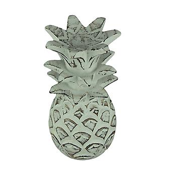 Distressed White Carved Wood Tropical Pineapple Decor Statue