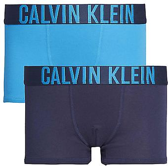 Calvin Klein Boys 2 Pack Intense Power Boxer Trunk, Blue / Navy, X-Large