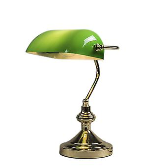 QAZQA Bankers Lamp Gold with Green Shade