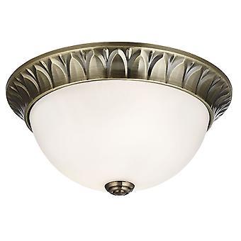 Antikk messing 2 lys 28cm Flush tak lys med frostet glasskuppel - søkelys 4148-28AB