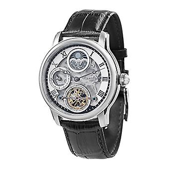 Thomas Earnhshaw Longitude Shadow ES-8063-01 wrist watch with silver skeleton dial and black leather band