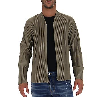 Homme Plissé By Issey Miyake Hp88jc20061 Men's Beige Velvet Outerwear Jacket