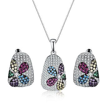 925 Sterling Silver Encrusted Colourful Stones Flower Design Set